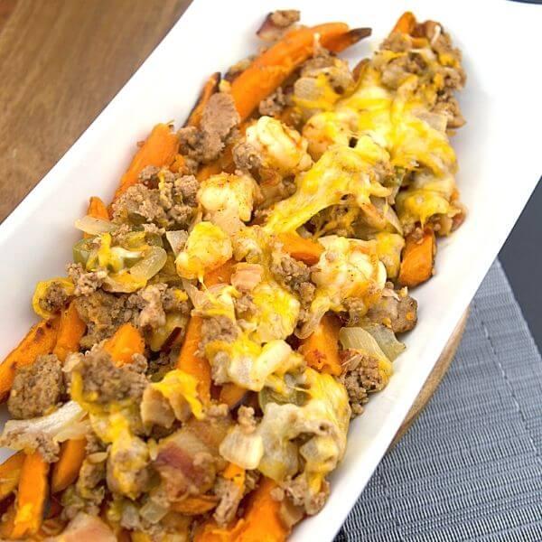 Spicy Surf N Turf Loaded Sweet Potato Fries 1 of 6